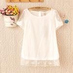 เสื้อผ้าฝ้ายสีขาวแต่งผ้าลูกไม้
