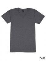 เสื้อยืดคอวีเรียบ Pv05 สีเทาดำฟอก