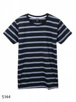 เสื้อยืดคอกลมลายทาง S144 (สีพื้นดำเเถบเทา)