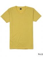 เสื้อยืดคอวีเรียบ Pv13 สีเหลืองมัสตาร์ด