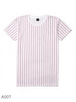 เสื้อยืดคอกลมลายทาง A007 (ลายทางตรง สีแดง)