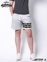 กางเกงขาสั้น พรีเมี่ยมวอร์ม รหัส WT209 A สีเทาอ่อน แถบทหาร