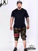 กางเกง Jogger ขาจั๊ม สามส่วน ผ้าวอร์ม WT377 RB ทหารแถบแดง ดำ