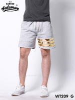 กางเกงขาสั้น พรีเมี่ยมวอร์ม รหัส WT209 G สีเทาอ่อน แถบทอง