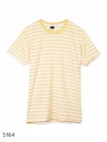 เสื้อยืดคอกลมลายทาง S164 (สีเหลืองอ่อนฟอก)