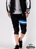 กางเกงสามส่วน พรีเมี่ยม ผ้าวอร์ม รหัส WT315 Blue สีดำ แถบฟ้า ขาว