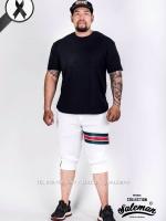 กางเกงสามส่วน พรีเมี่ยม ผ้า วอร์ม รหัส WT322 TAX GC สีขาว แถบTaxเขียวแดง