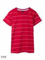 เสื้อยืดคอกลมลายทาง S159 (สีเเดงเส้นขาว)