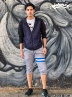 กางเกงสามส่วน พรีเมี่ยม ผ้า วอร์ม รหัส WT309 ฺฺBlue สีเทา แถบฟ้า