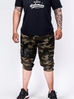 กางเกง Jogger ขาจั๊ม สามส่วน ผ้าวอร์ม WT377 BB ทหารแถบดำ