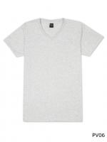 เสื้อยืดคอวีเรียบ Pv06 สีเทาอ่อนฟอก