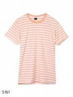 เสื้อยืดคอกลมลายทาง S161 (สีโอลด์โรสอ่อนฟอก)