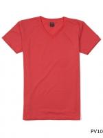 เสื้อยืดคอวีเรียบ Pv10 สีส้มโอรส