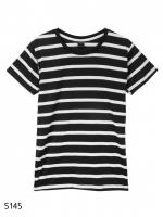 เสื้อยืดคอกลมลายทาง S145 (สีพื้นดำเเถบขาว)