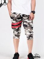 กางเกง Jogger ขาจั๊ม สามส่วน ผ้าวอร์ม WT378 ฺฺRed ลายทหาร แถบ แดง