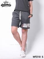 กางเกงขาสั้น พรีเมี่ยมวอร์ม รหัส WT210 S สีเทาเข้ม แถบเงิน