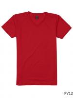 เสื้อยืดคอกลมเรียบ Po12 สีแดง