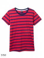 เสื้อยืดคอกลมลายทาง S150 (สีพื้นแดงเเถบกรม dangerous)
