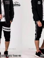 กางเกงสามส่วน พรีเมี่ยม ผ้า COTTON รหัส SS T315 TAX W สีดำ แถบTax ขาว