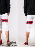 กางเกงสามส่วน พรีเมี่ยม ผ้า COTTON รหัส SST 322 TAX JAP Red สีขาว แถบแดง
