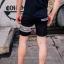 กางเกงขาสั้น พรีเมี่ยม ผ้า COTTON รหัส SST 215 Silver SN สีดำ แถบงูเงิน thumbnail 13