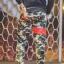 กางเกง Jogger ขาจั๊ม พรีเมี่ยม ผ้า วอร์ม รหัส WT 679 RR สีทหาร แถบ แดง thumbnail 2