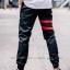 กางเกง JOGGER พรีเมี่ยม ผ้า COTTON รหัส SST 615 R สีดำ แถบแดง thumbnail 2