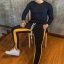 กางเกง ขายาว พรีเมี่ยม ผ้า วอม รหัส W 615 TAX Y ดำแถบเหลือง thumbnail 1