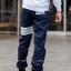 กางเกง JOGGER พรีเมี่ยม ผ้า COTTON รหัส SS T612 W สีกรม แถบขาว thumbnail 2