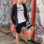 กางเกงขาสั้น พรีเมี่ยม ผ้า วอร์ม รหัส WT215 ฺBlue สีดำ แถบ ฟ้า thumbnail 1