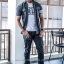 BIG เสื้อเชิตยีนส์ SALEMAN®Original เสื้อเชิตคุณภาพ สีเทาดำ SSY110 thumbnail 5