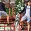 กางเกงขาสั้น พรีเมี่ยม ผ้า วอร์ม รหัส WT209 ฺBlue สีเทา แถบ ฟ้า thumbnail 3