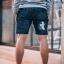 กางเกงขาสั้นยีนส์ Y210 BIRD สีเทาเข้ม แถบขาว สกรีนรูปนก thumbnail 3