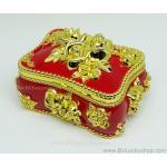 กล่องเก็บเครื่องประดับ สี่เหลี่ยม ยาว 6.5 นิ้ว - สีแดง/ทอง [SQ18007-Red.G]