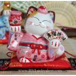 แมวกวัก แมวนำโชค สูง 5 นิ้ว ชุดกิโมโน สีชมพู ถือพัด และถุงทอง [35525]