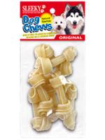 ขนมขัดฟันสุนัข SLEEKY หนังวัวขัดฟันรูปกระดูกผูก ขนาด 2.5 นิ้ว - แพ็คเล็ก