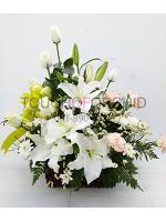 กระเช้าดอกไม้กุหลาบ-ลิลลี่ขาว