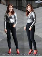 กางเกงยีนส์ขาเดฟเอวสูง กระดุมหน้า5เม็ด สีดำ เรียบหรูดูดี มี SIZE S,M,L,XL 34 36 38 40