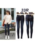 กางเกงยีนส์ขาเดฟแฟชั่น เอวต่ำ ยีนส์ยืด สีกรม ฟอกขาวอมม่วง ผ้ายืด มี SIZE S,L,XL