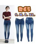 กางเกงยีนส์เอวต่ำ สีฟ้าฟอกขาว ทรงสวย ผ้ายืด มี SIZE M,XL