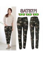 กางเกงยีนส์ไซส์ใหญ่ ขาเดฟเอวสูง ซิบ ลายทหาร มี SIZE 34 36 38