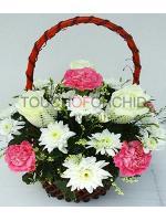 กระเช้าดอกไม้กุหลาบ-คาร์เนชั่น