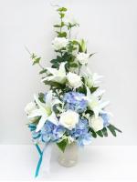 แจกันดอกไม้ประดิษฐ์โทนฟ้าขาวใหญ่ รหัส 3081