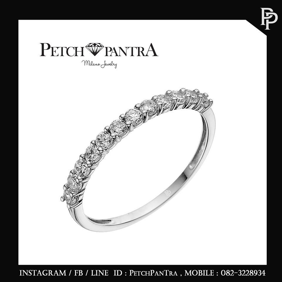 แหวนเพชรCZ แหวนเพชรรัสเซีย แบบเพชรครึ่งวง
