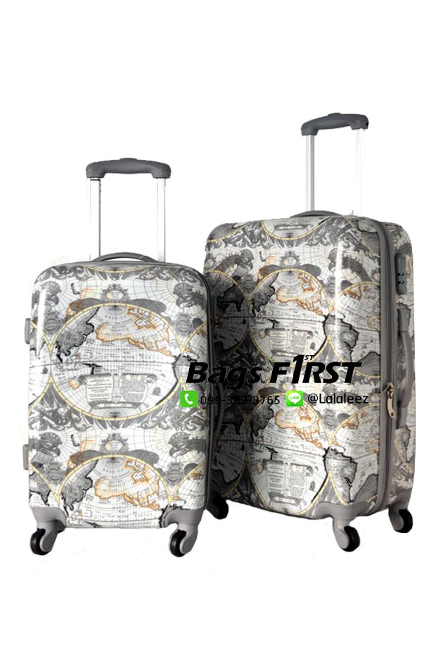 กระเป๋าเดินทางเนื้อ PC ลายแผนที่ ขนาด 20 นิ้ว