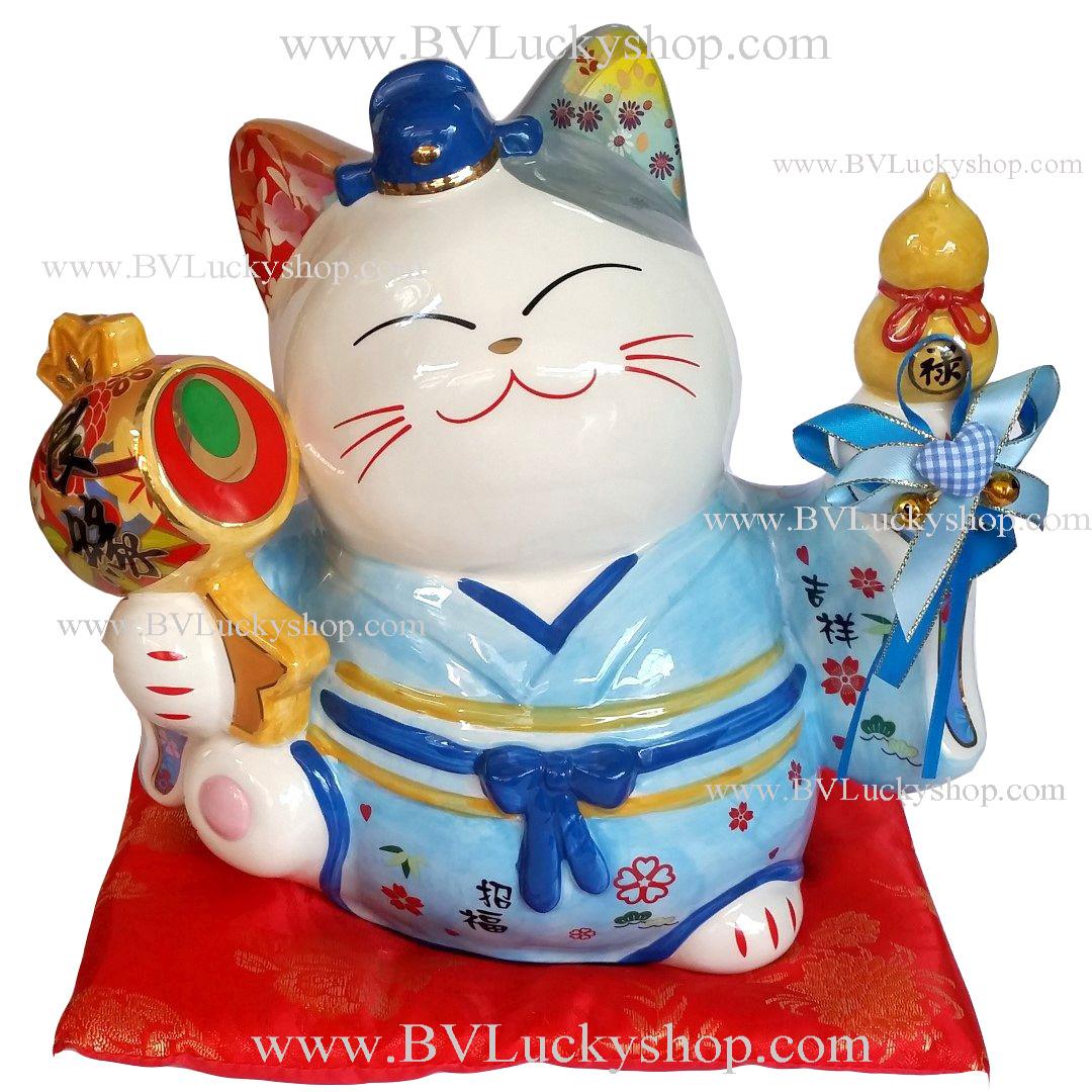 แมวนำโชค แมวกวัก 8นิ้ว ชุดกิโมโน สีฟ้า ถือค้อน และน้ำเต้า [35836]