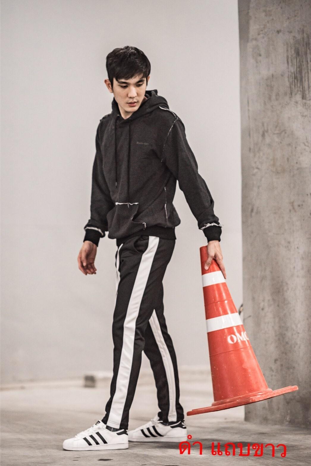 กางเกง ขายาว พรีเมี่ยม ผ้า วอม รหัส W 615 TAX W ดำแถบขาว