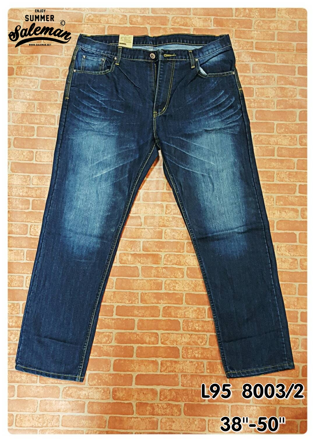 L95 8003/2 กางเกงยีนส์ขายาว ขายกางเกง กางเกงคนอ้วน เสื้อผ้าคนอ้วน กางเกงขายาว กางเกงเอวใหญ่