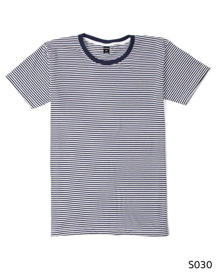 เสื้อยืดคอกลมลายทางริ้วเล็ก S030 (สีขาวกรมเข้ม)