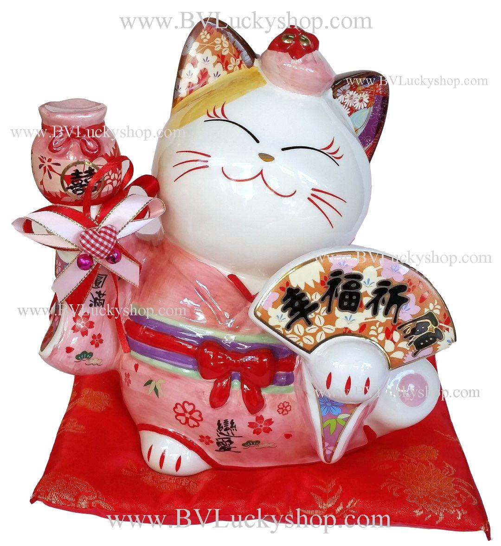 แมวนำโชค แมวกวัก 8นิ้ว ชุดกิโมโน สีชมพู ถือพัดและถุงเงินทอง [35835]